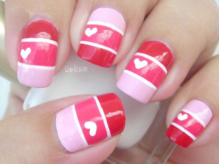 Nail Art - Valentine Color Blocking - Decoracion de uñas
