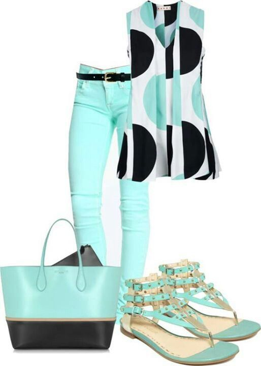 Love the geometric top, color scheme and pants! Would pair with a black cardigan and black flats or sandals.