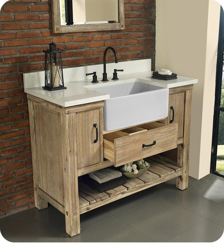 Fairmont Designs 1507 Fv48 Napa 48 Free Standing Single Bathroom Vanity With One Drawer In Sonoma Sand Farmhouse Vanity Single Bathroom Vanity Rustic Bathroom Vanities