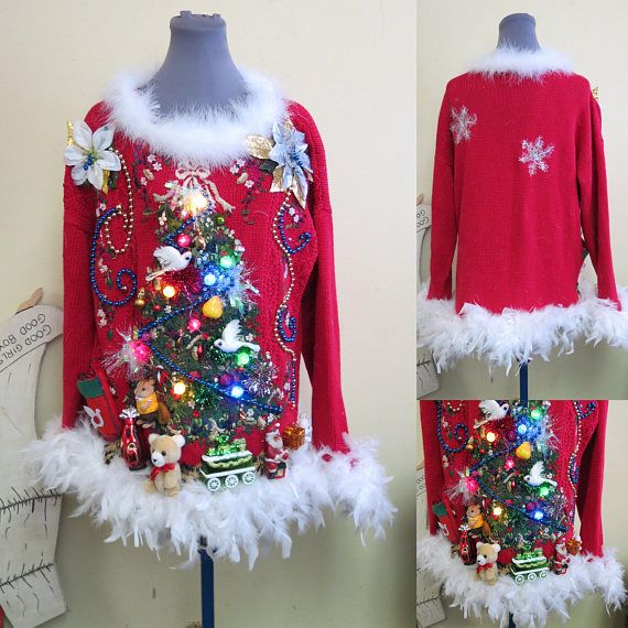 IN STOCK READY TO SHIP- PRIORITY MAIL UPGRADE TO EXPRESS DURING CHECK OUT FOR EVEN FASTER DELIVERY fUN 2 doves, a partridge, a squirrel and a pear in in a Christmas Tree! Tacky Ugly Christmas Sweater with 3-D Christmas Trees From rummage sales to grandmas closet, we search out the