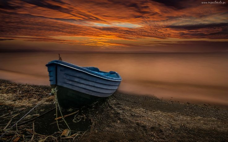 Morze, Brzeg, Łódka, Chmury