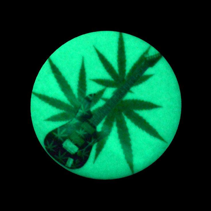 Amazon.com: Glow in Dark Cannabis Leaf Guitar on Pinback Button: Clothing