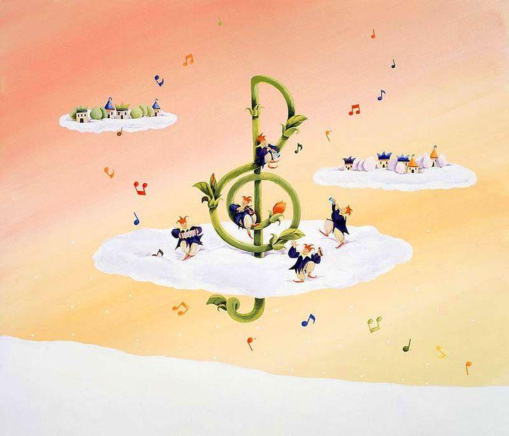 メルヘンイラスト 雲の上の花咲くト音記号と演奏する妖精たち