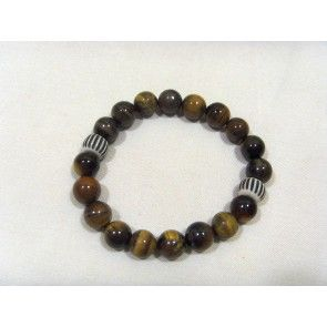 Brown Tiger eye & bone bracelet, elastic