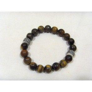 Brown Tiger eye & bone bracelet, elastic