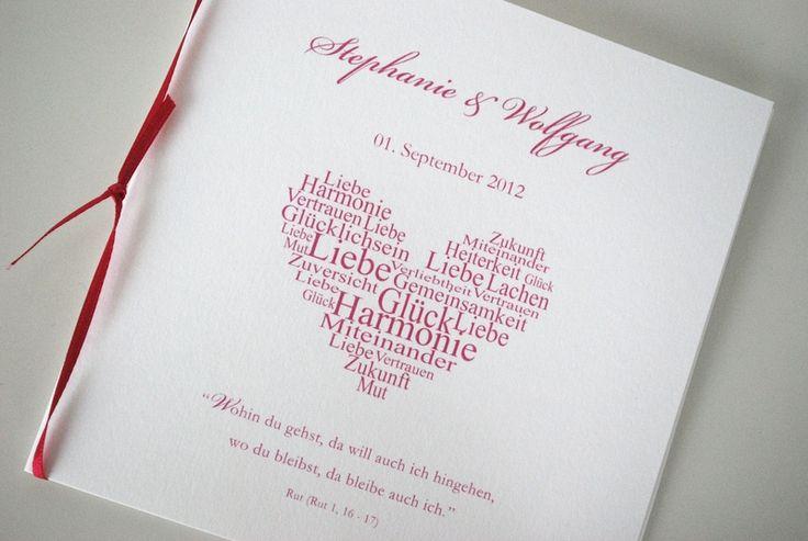 Kirchenheft - Pink Herzklopfen von Kreative Papeterie für Hochzeit ...
