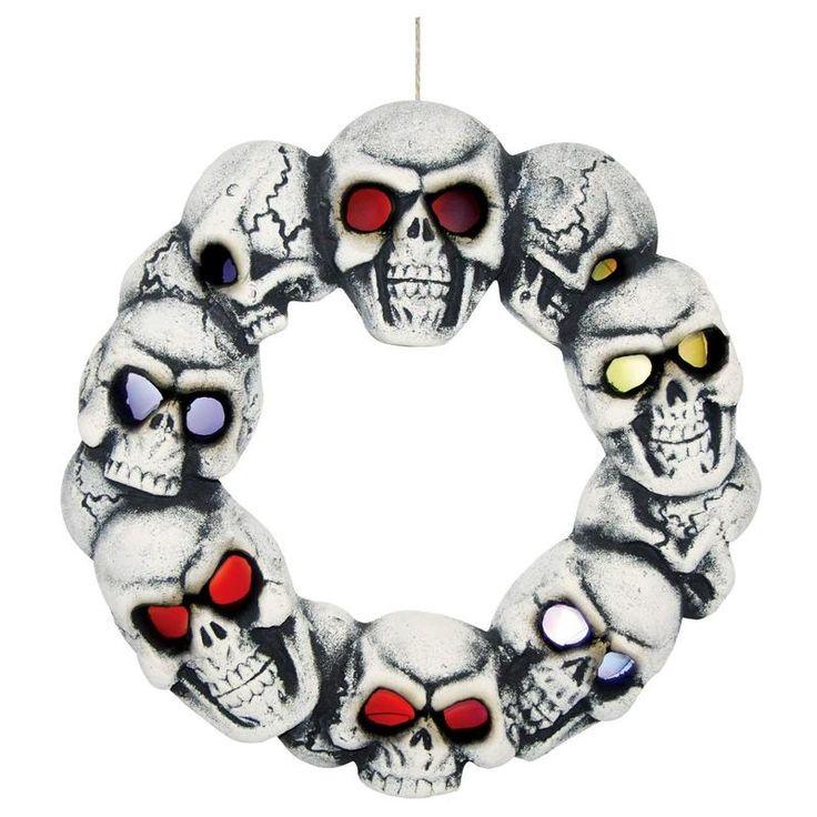 Spooky Halloween Skull Wreath With Light-Up Eyes