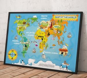The 25 best kids world map ideas on pinterest world map design kids world map 31 canvas print gumiabroncs Images