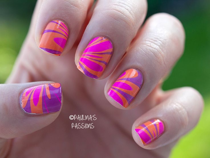Summer Water Marble Nails