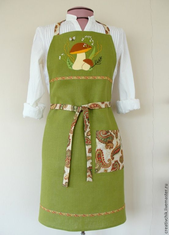 Купить Фартук для кухни Гриб Боровик - зеленый, фартук ручной работы, фартук для…