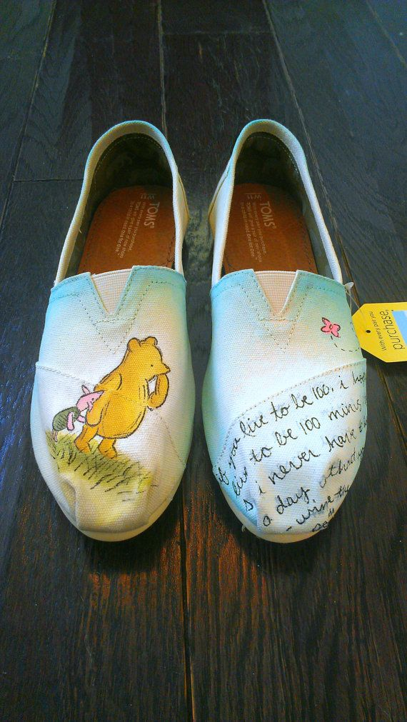 Winnie the Pooh and Piglet TOMS Custom Disney by LaQuist on Etsy, $90.00
