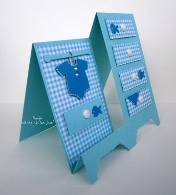 handmade card for baby boy ... side view of side step card ... chests of drawers .... monochromatic blues .. luv the cute details ...