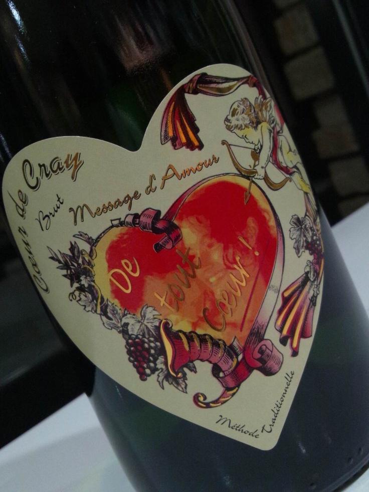 「De tout Cœur!(心から愛しています!)」ハートのラベルの告白スパークワイン【モンルイ・シュル・ロワール・ブリュット】樹齢約50年のヴィエーユ・ヴィーニュ。シャンパーニュ方式で造られるきめ細やかなスパークワインです。¥2100