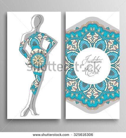 Vector woman silhouette, invitation card, fashion.