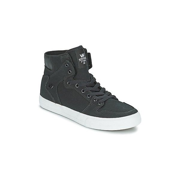 Supra VAIDER D Shoes (High-top Trainers) (105 AUD) ❤ liked on Polyvore featuring shoes, sneakers, high top trainers, women, black high top sneakers, white high top shoes, black high tops, supra footwear and white high top sneakers