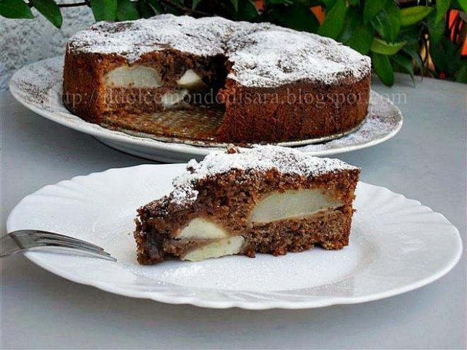 Ricetta Dessert : Torta umida al cioccolato, mandorle e pere da Áƒ¦saraღ