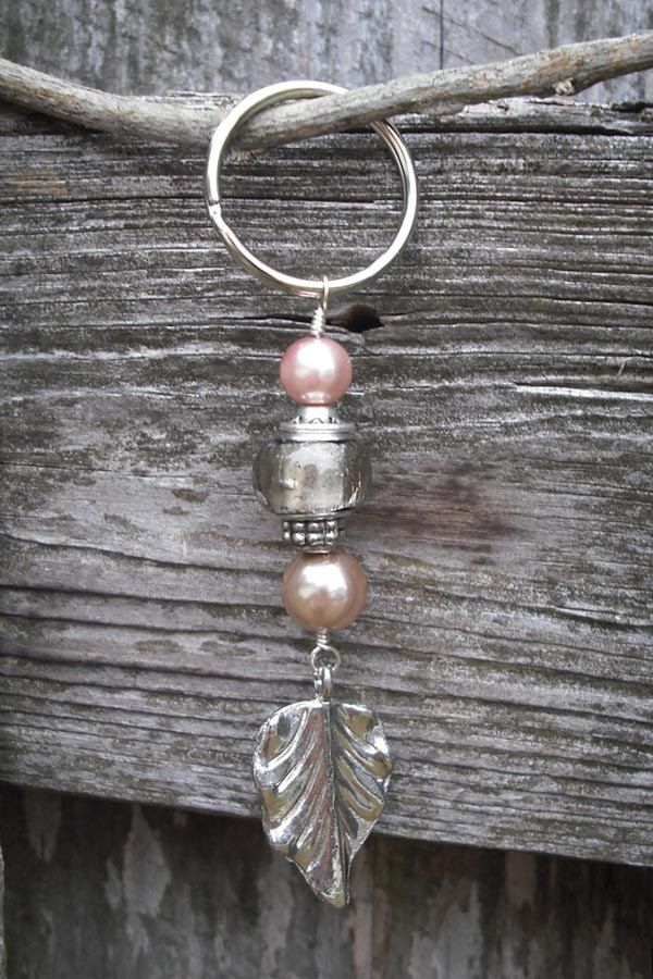 Beaded Key Chain with Leaf Charm. $8.00, via Etsy.