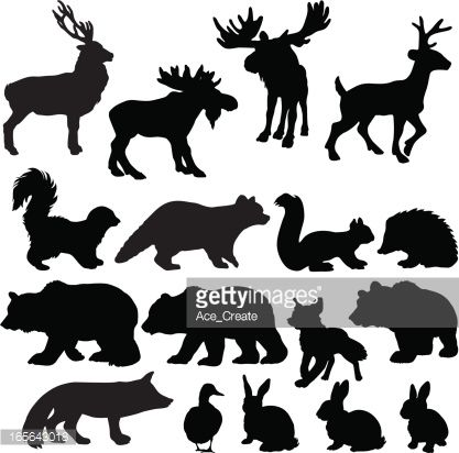 Clipart vectoriel : Silhouettes of woodland animals