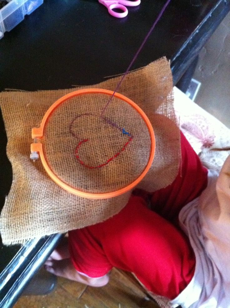 Embroidery on burlap!  Easy for the kids to do!