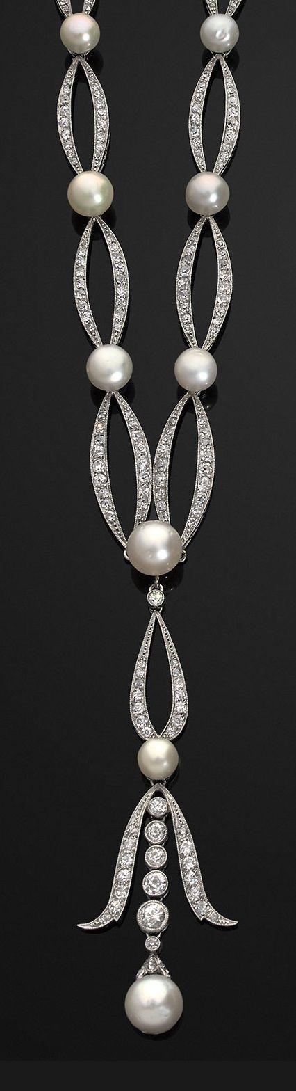 Belle Époque Pearl & Diamond Sautoir-1910