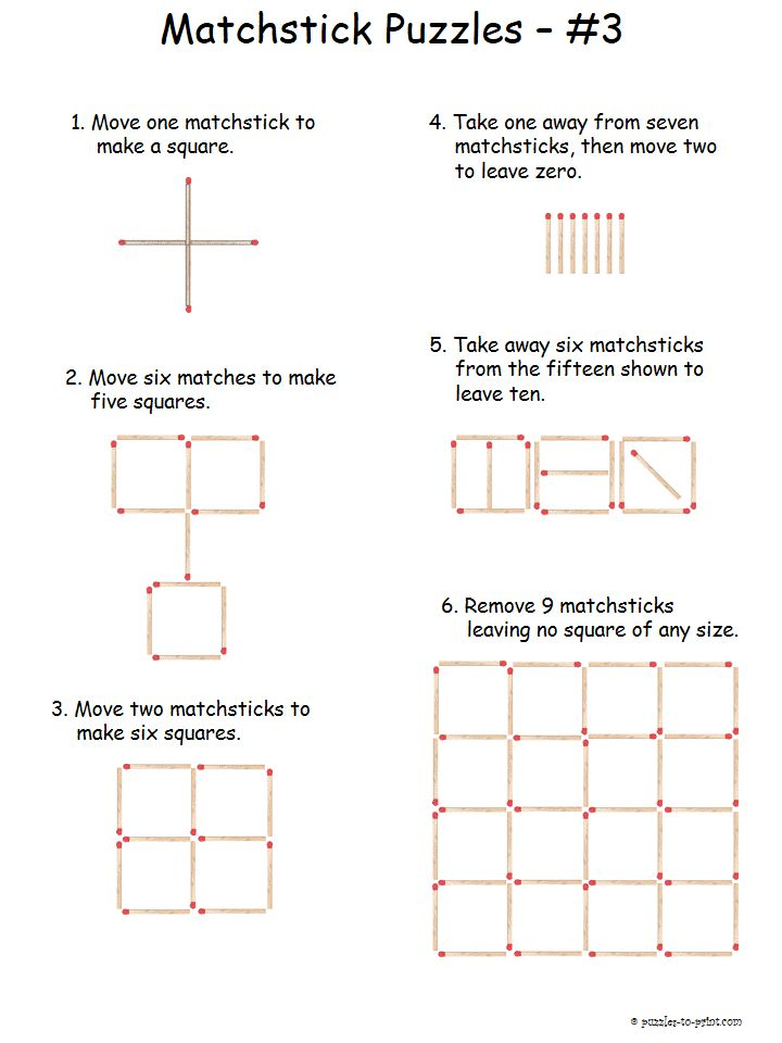 We have a whole collection of matchstick puzzles that are easy for you to print and enjoy. Use them as classroom worksheets or just to have some fun at home.