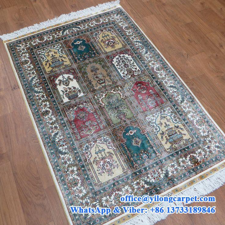 3' x 4.5' hand made silk oriental carpet m…