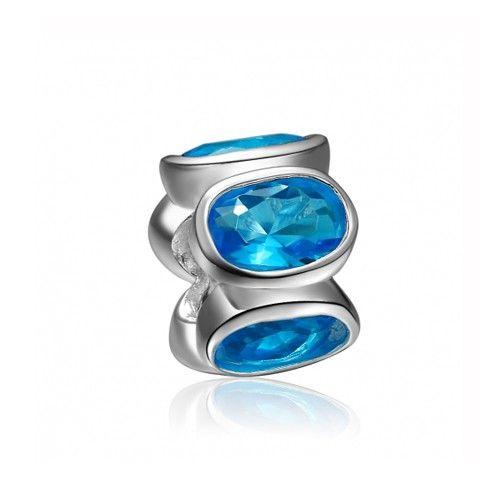 March Birthstone Light Blue Ellipse Crystal Charm 925 Sterling Silver Pandora Compatible