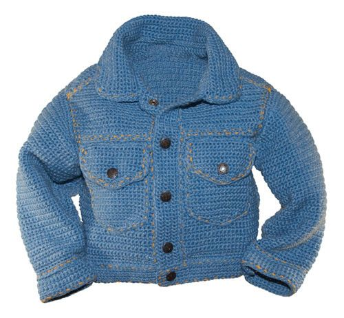 Maggie's Crochet · Jean Jacket Cool/ easy / / 12 mos. to 6 yrs. / CROCHET pattern