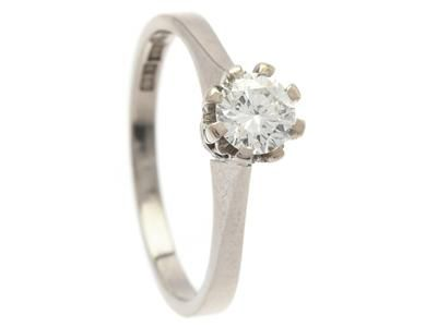 SOLITAIRE RING, 18K white gold, brilliant cut diam…