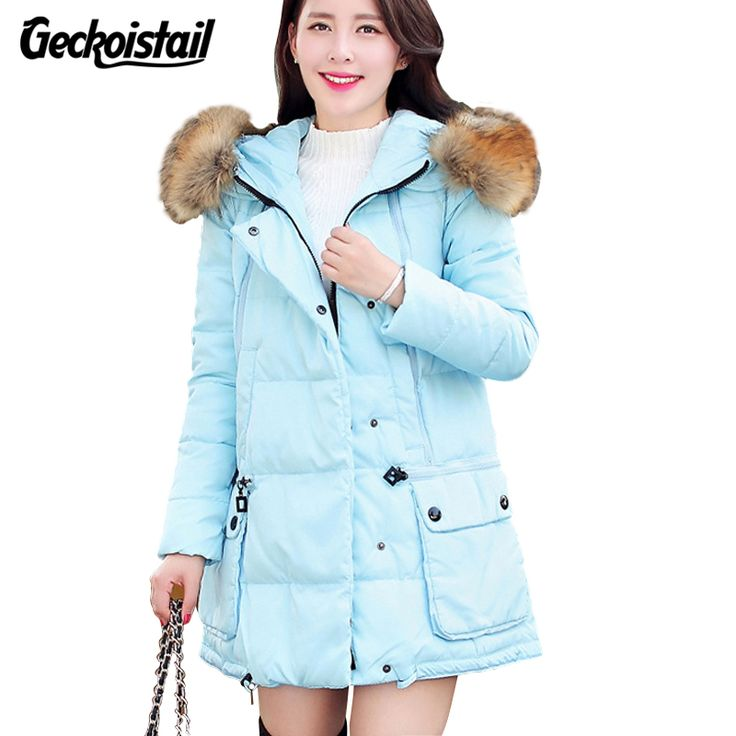 Geckoistail New Winter Fashion Womens Parka Jackets Fur Collar Hooded Down Cotton Warm Women Parka Coats Removable Hat Outerwear #Affiliate