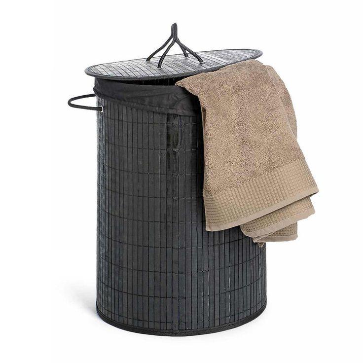 Wäschekorb Bambus schwarz ca D:35 x H:50 cm
