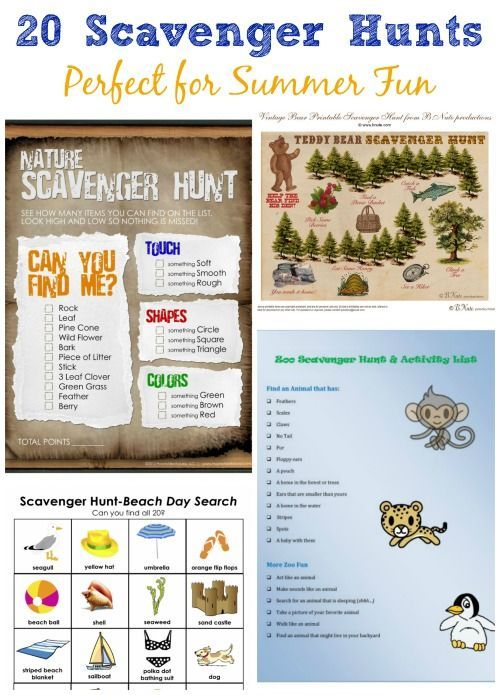 """Lots of fun themed scavenger hunts (with free printables!) for the kids this summer! Easy DIY activity for when they say """"I'm bored!"""""""