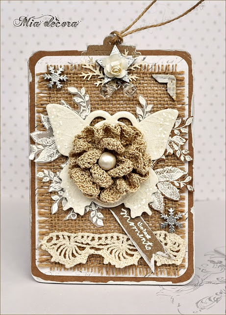 TagCrochet Flower, Burlap Tags, Crocheted Flowers, Burlap Crafts, Winter Picnics, Burlap Projects, Mia Decora, Beautiful Tags, Beautiful Vintage