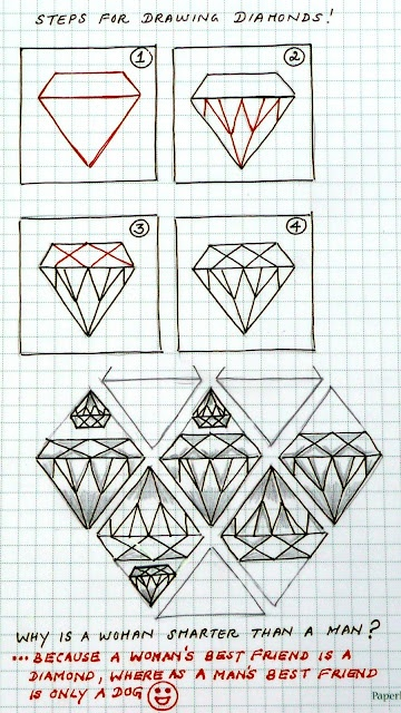 Diamonds zentangle pattern