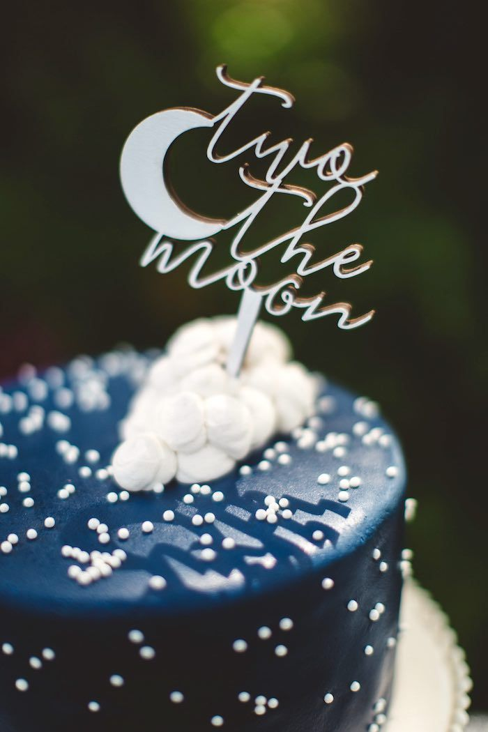 """Marshmallow + moon cake topper from a """"Two the Moon"""" 2nd Birthday Party on Kara's Party Ideas 