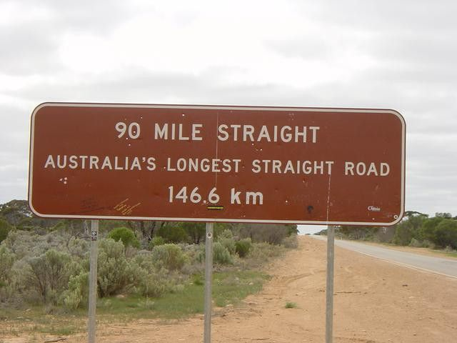 Australia's Long straight road  90 miles (144.6 km)  Nullabor Plain, South Australia