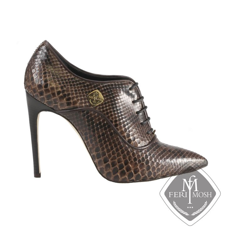 FERI MOSH - Aria Oxford Stilettos Deep brown genuine python oxford stiletto heels   - Made with genuine python uppers and lined with nappa leather and suede  - Real leather sole  - Quality stacked wood heel  - Metal plate with FERI MOSH logo on the outer side of both shoes - Lace up, oxford design  - FERI MOSH logo embossed inside - 11cm heel height  - Made In Italy   Invest with confidence in FERI MOSH Opulence Wear Collection.