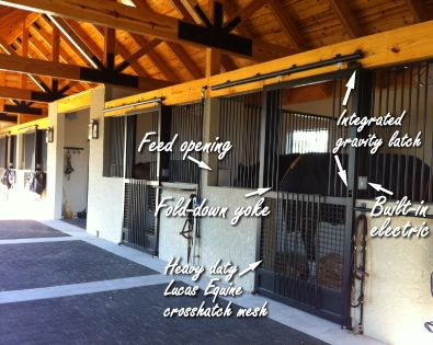 horse stall front ideas fold down yoke integrated gravity latch crosshatch mesh - Horse Stall Design Ideas