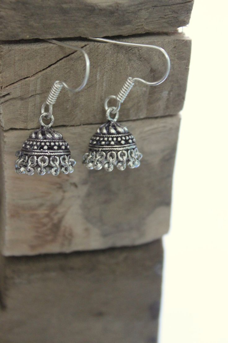 Antique Indian Jhumka Dome Shape Bells Dangle Silver Earrings  Rajasthan,india Ethnic Element Earrings Bohemian