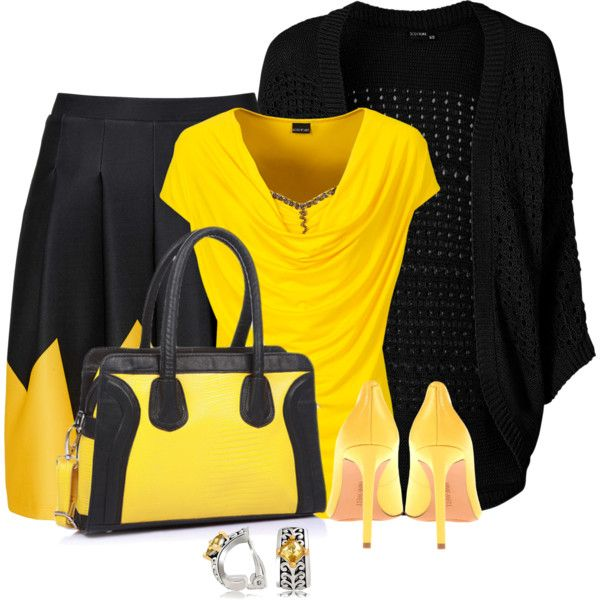 Office outfit: Black - Yellow by downtownblues on Polyvore