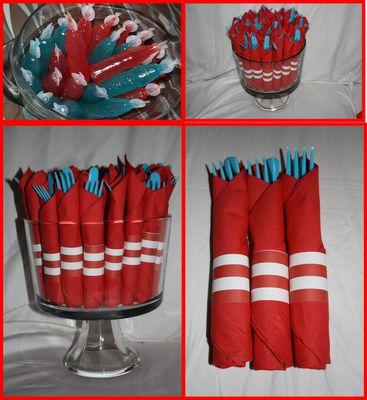 Drinks--red & blue Kool-aid    Napkin wrapped utensils--red utensils, blue napkins, striped paper