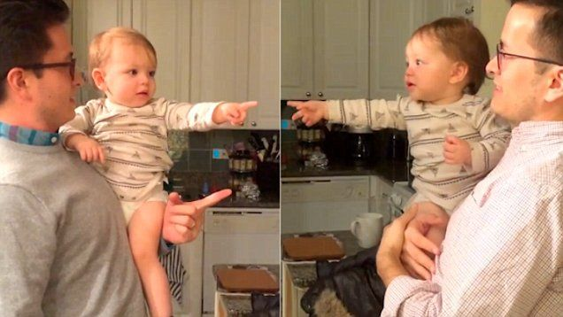 Adorable video footage uploaded to YouTube shows the cute moment a baby becomes confused as he is introduced to his dad's twin.