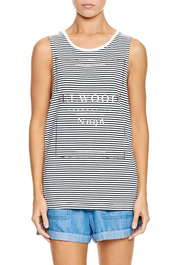 ELWOOD CLOTHING - Stoney Tank Navy Stripe