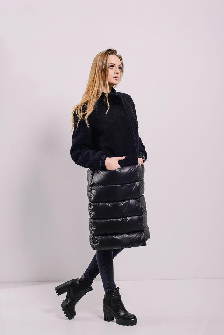Черный комбинированный пуховик-пальто на кнопках Lilo. Купить в Lilo - производитель женской одежды: пальто, платье, сарафан, брюки