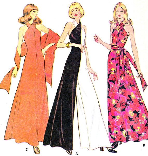 1970s McCalls 3419 Womens Knit Halter Neck Jumpsuit by paneenjerez, $16.00