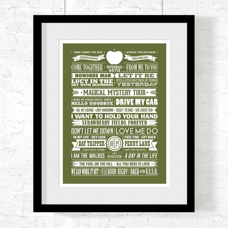 A beautiful typographical art print featuring song titles from some of The Beatles most loved hits.  Print Size: 30cm by 40cm.  Designed and printed in Australia on high quality smooth 230gsm card derived from sustainably managed forests.  Print comes UNFRAMED. We recommend the IKEA Ribba 40cm by 50cm frame.  Each print is shipped in a rigid mailing tube.