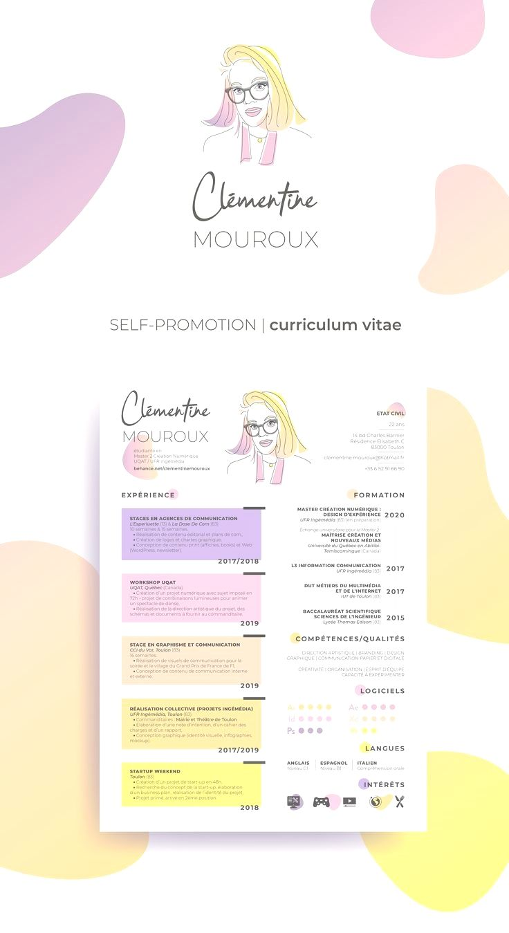 Colorful Illustrated Resume Cv Creative Cv Of Clementine