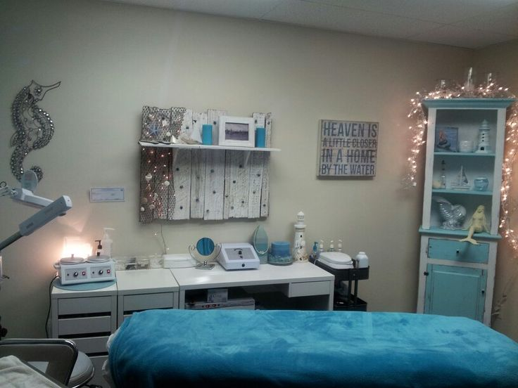 day spa || massage therapy room || esthetician room || aesthetician room || esthetics || skin care || body waxing || hair removal || body scrub || body treatment room || ocean blue decor || lighting
