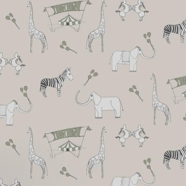 Katie Bourne Kids Wallpaper. Roll up, roll up, the circus is coming to town. This beautiful circus themed paper will amuse and delight your little ones for years to come. Featuring delightful zebras, giraffes and elephants, this fun design will feed their imaginations.. Roll: 52cm x 10m