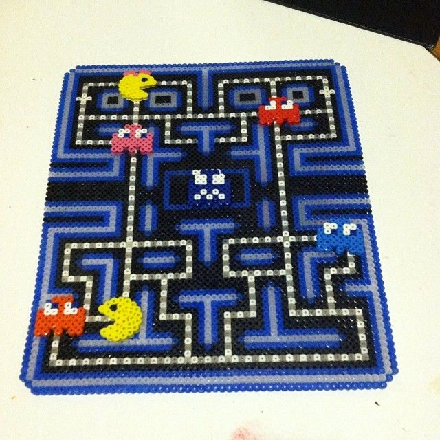 PacMan game board (all the pieces are movable) perler beads by angeeb423